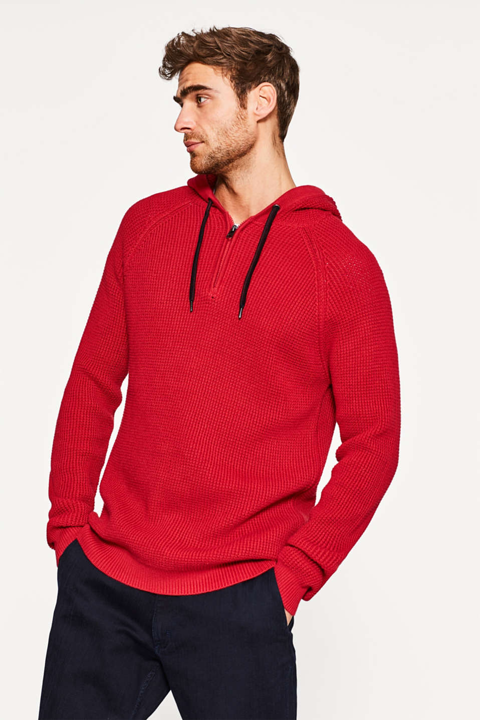 Esprit - Textured yarn jumper with a hood