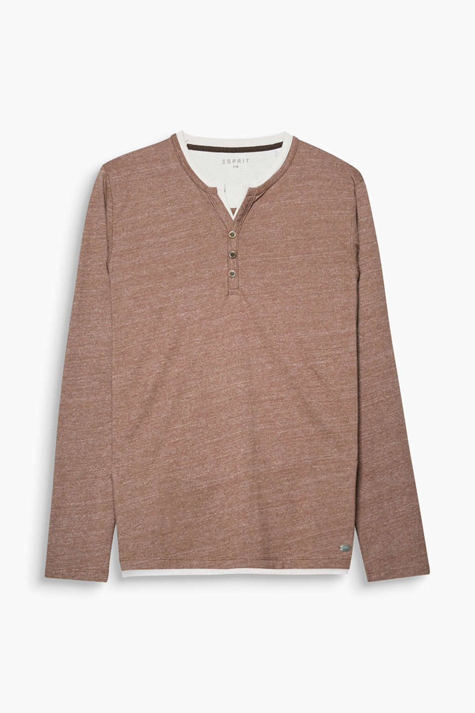 Casual and sporty! This long sleeve top in soft blended cotton is defined by its casual layered effect