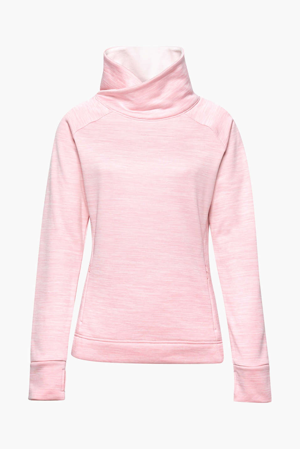 This active sweatshirt in a melange look with kangaroo pockets is the perfect companion on cold days!