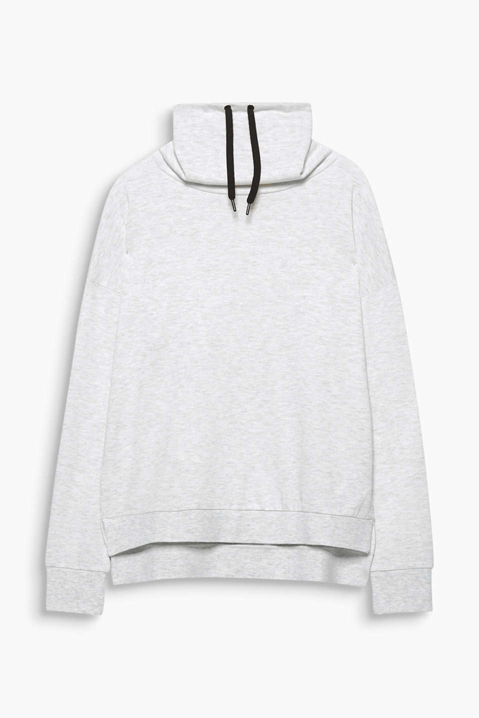 This sweatshirt with a high drawstring panel collar is casually cut, fashionably melange and super soft!