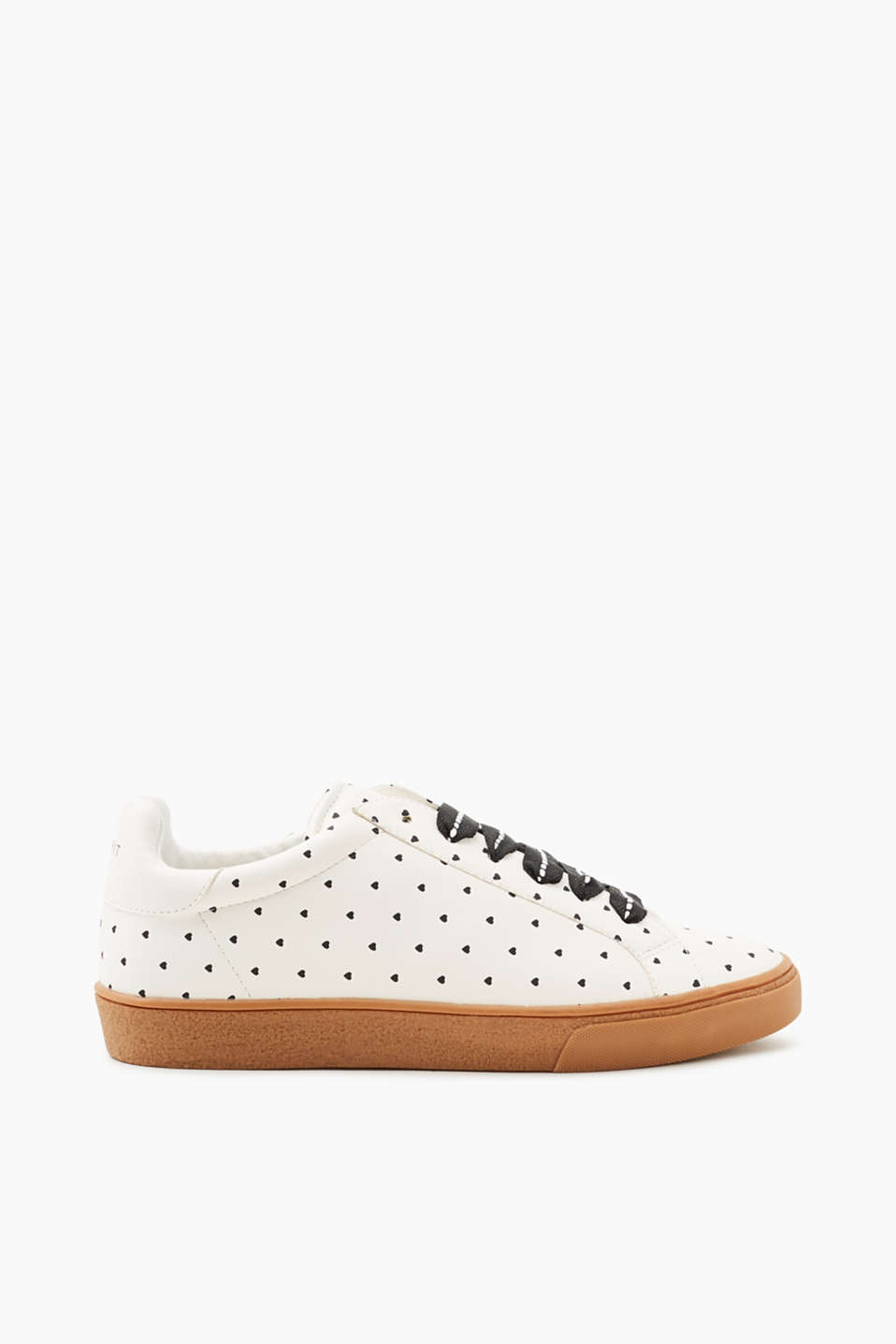 Esprit - Heart-print trainers in faux leather