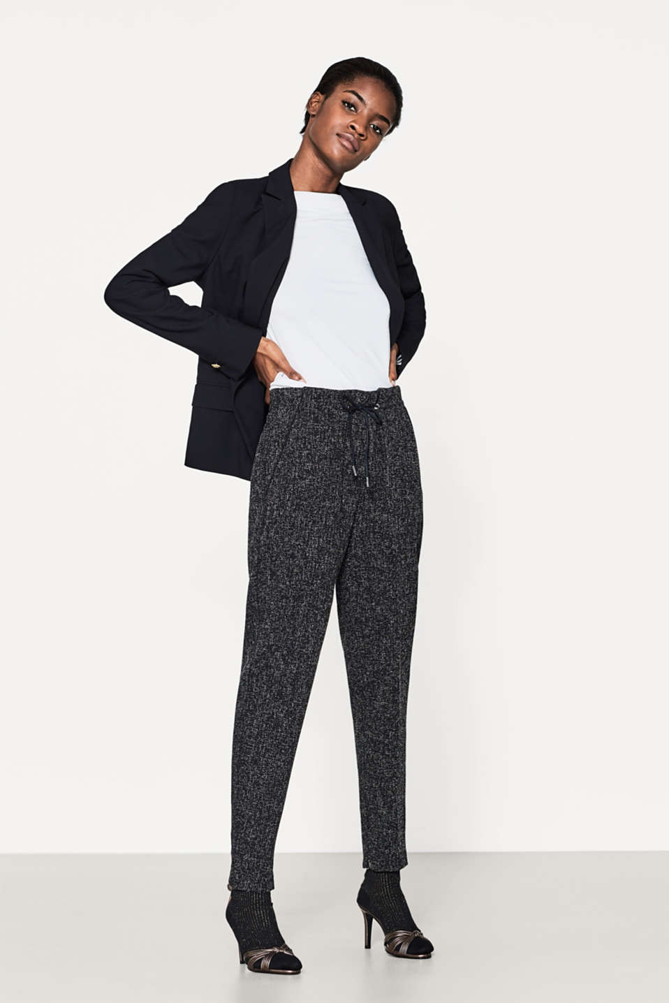 Textured tracksuit bottoms, deco stitching