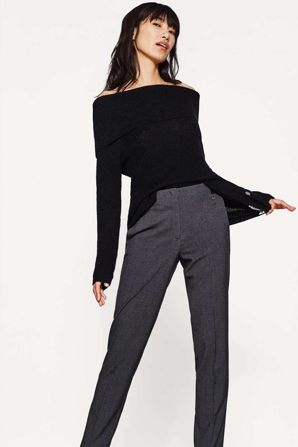 Esprit - Stretch trousers + elasticated waistband