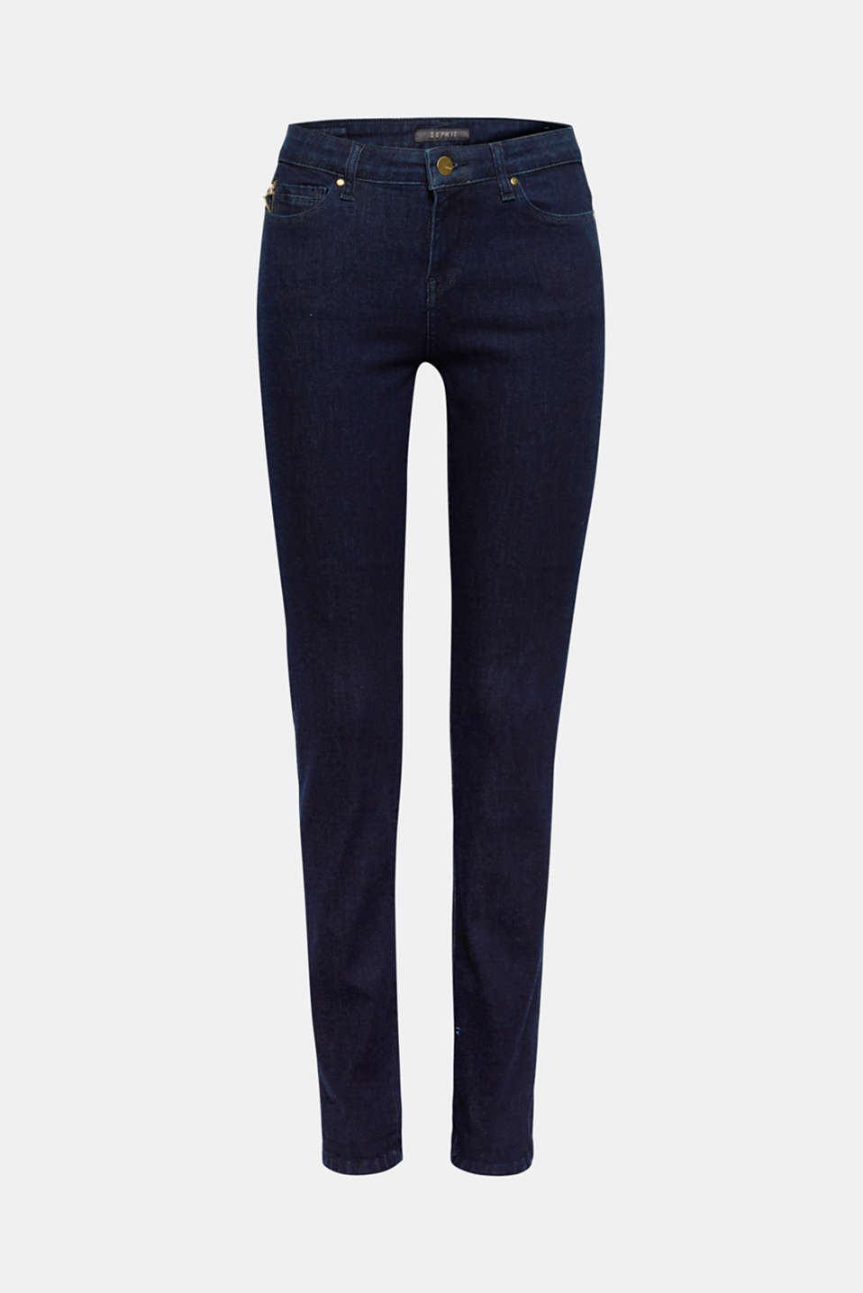 The dark garment wash, the slim fit and the gold-coloured zip give these stretch jeans their smart look!