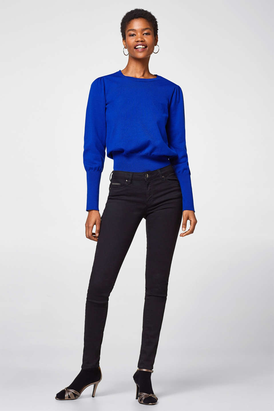 Esprit - Black stretch jeans with chain details