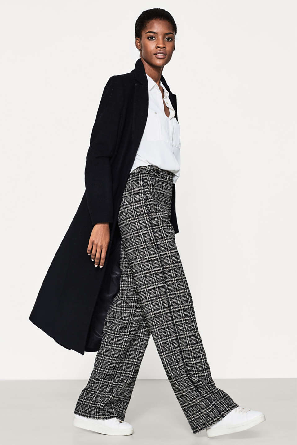 Bouclé trousers in an extra-wide cut