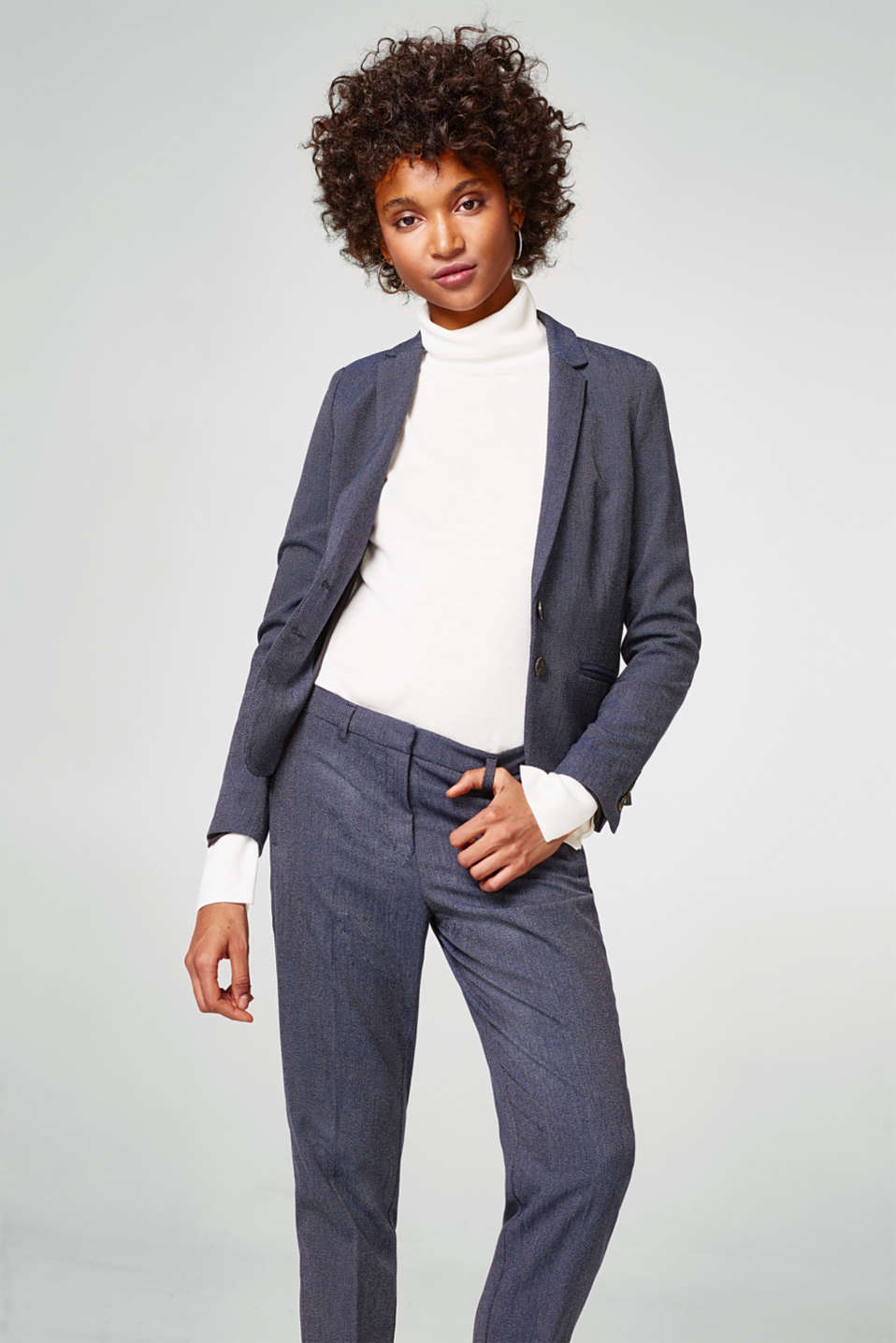 Smart two-tone texture trousers