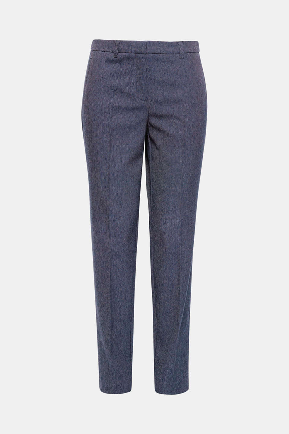 You always look well-dressed in these smart stretch trousers with a fine two-tone texture and pressed pleats!