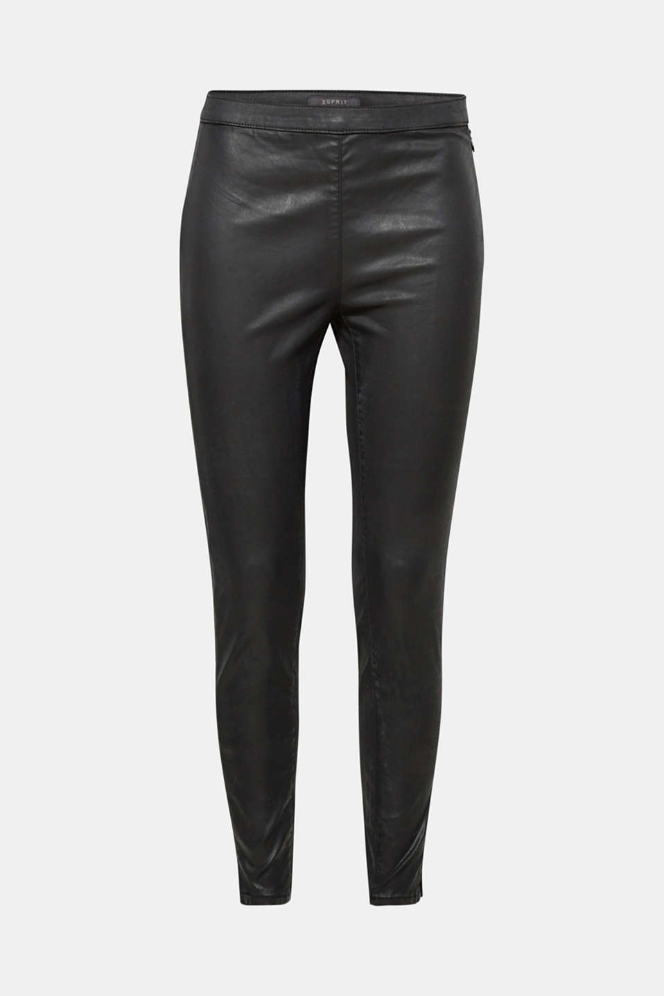 These comfortable stretchy trousers with stylish coating and a side zip give your looks a cool kick!