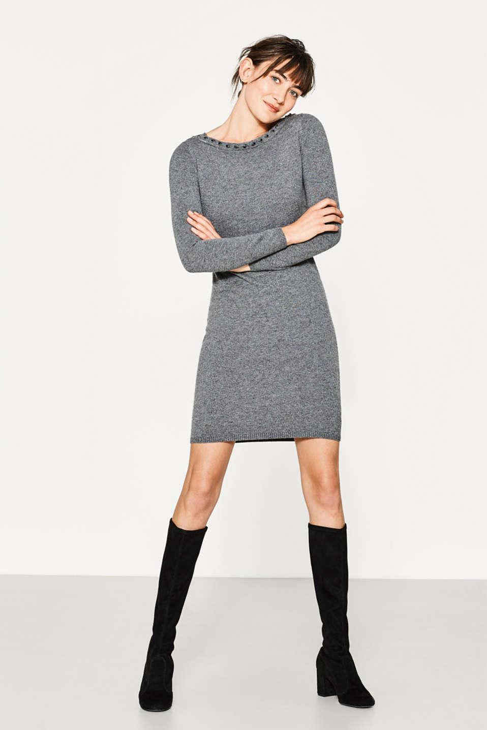 Esprit - Cashmere blend dress with gemstones