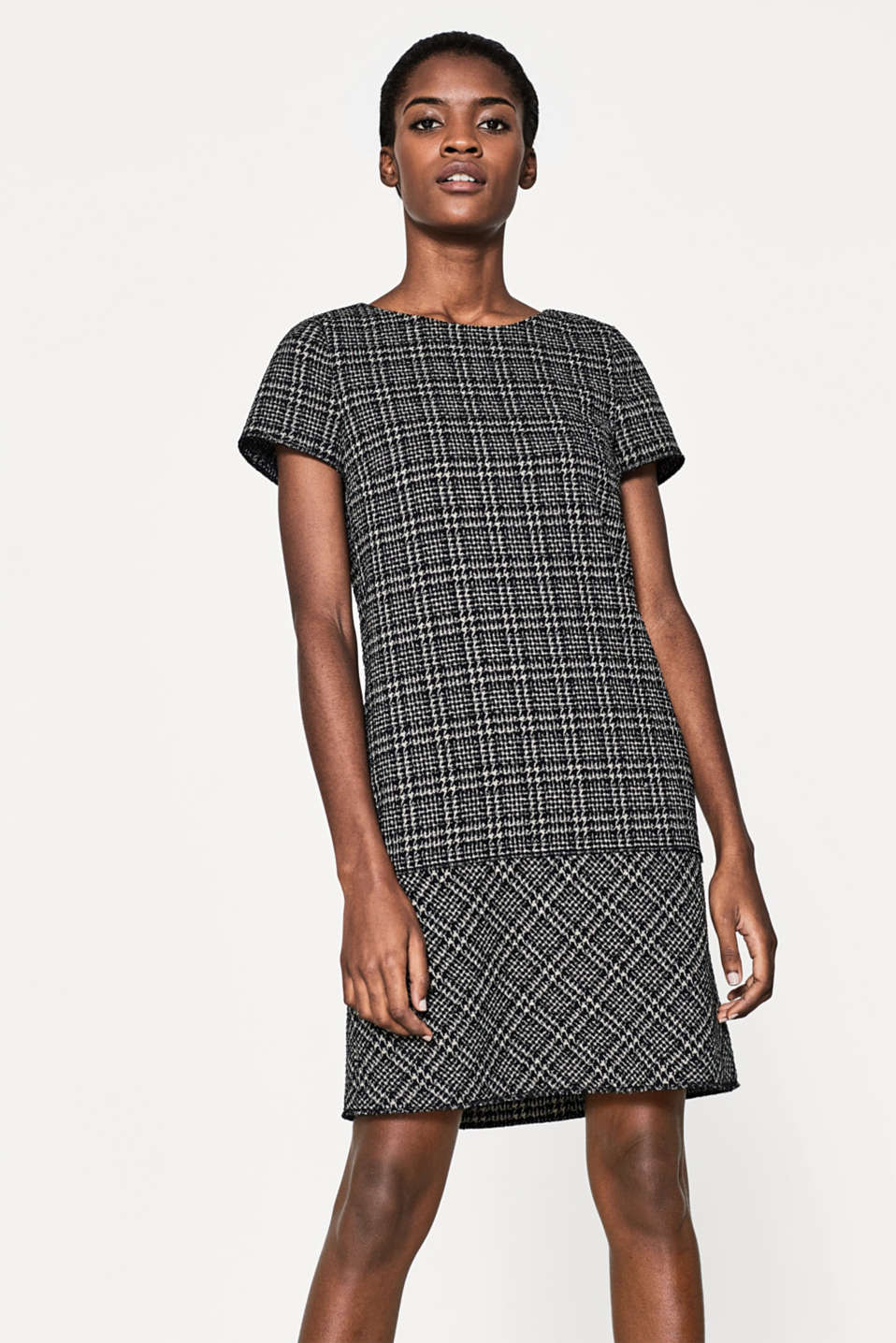 Esprit - Stretchy dress, check/houndstooth pattern
