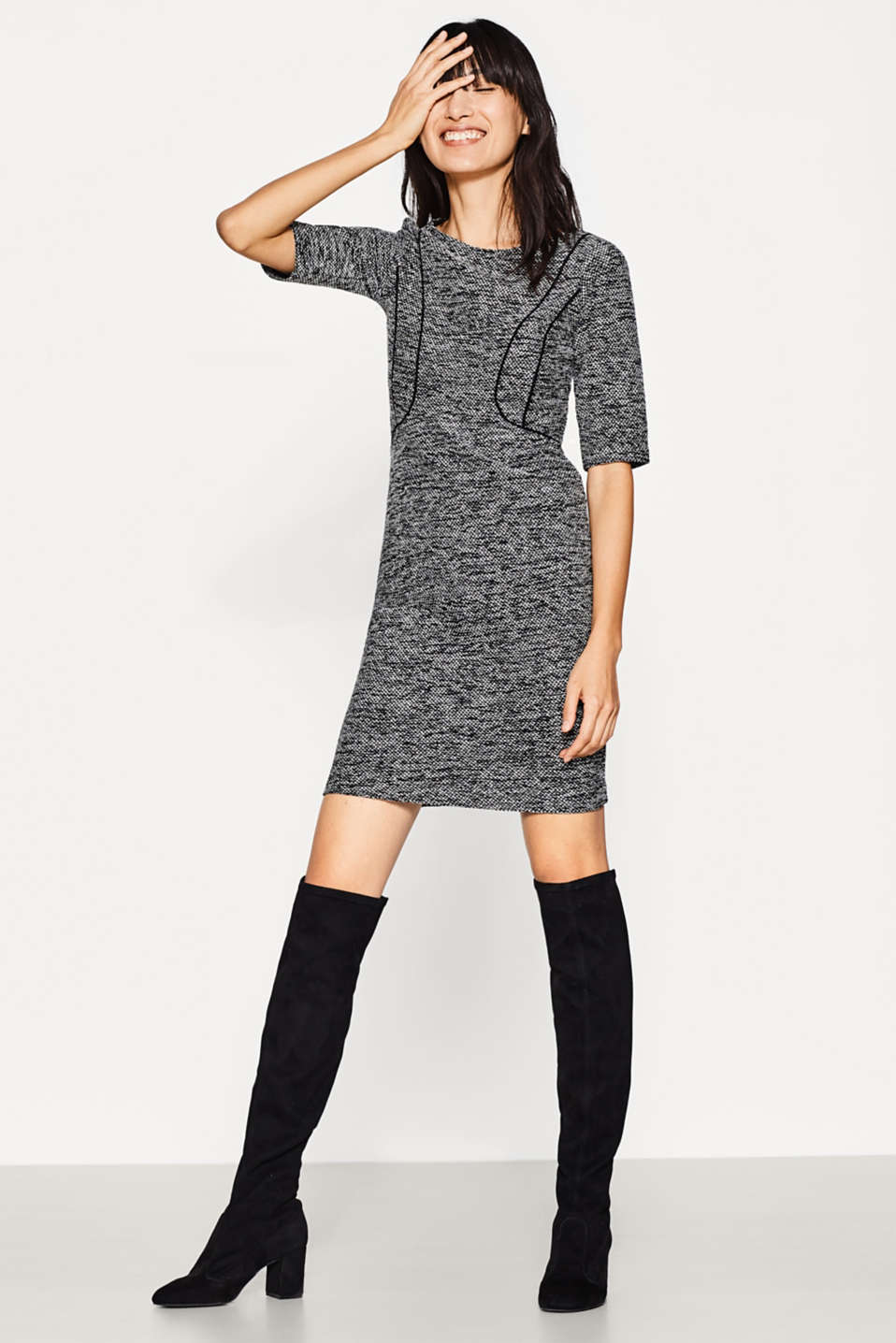Esprit - Jersey dress in a glittering tweed look