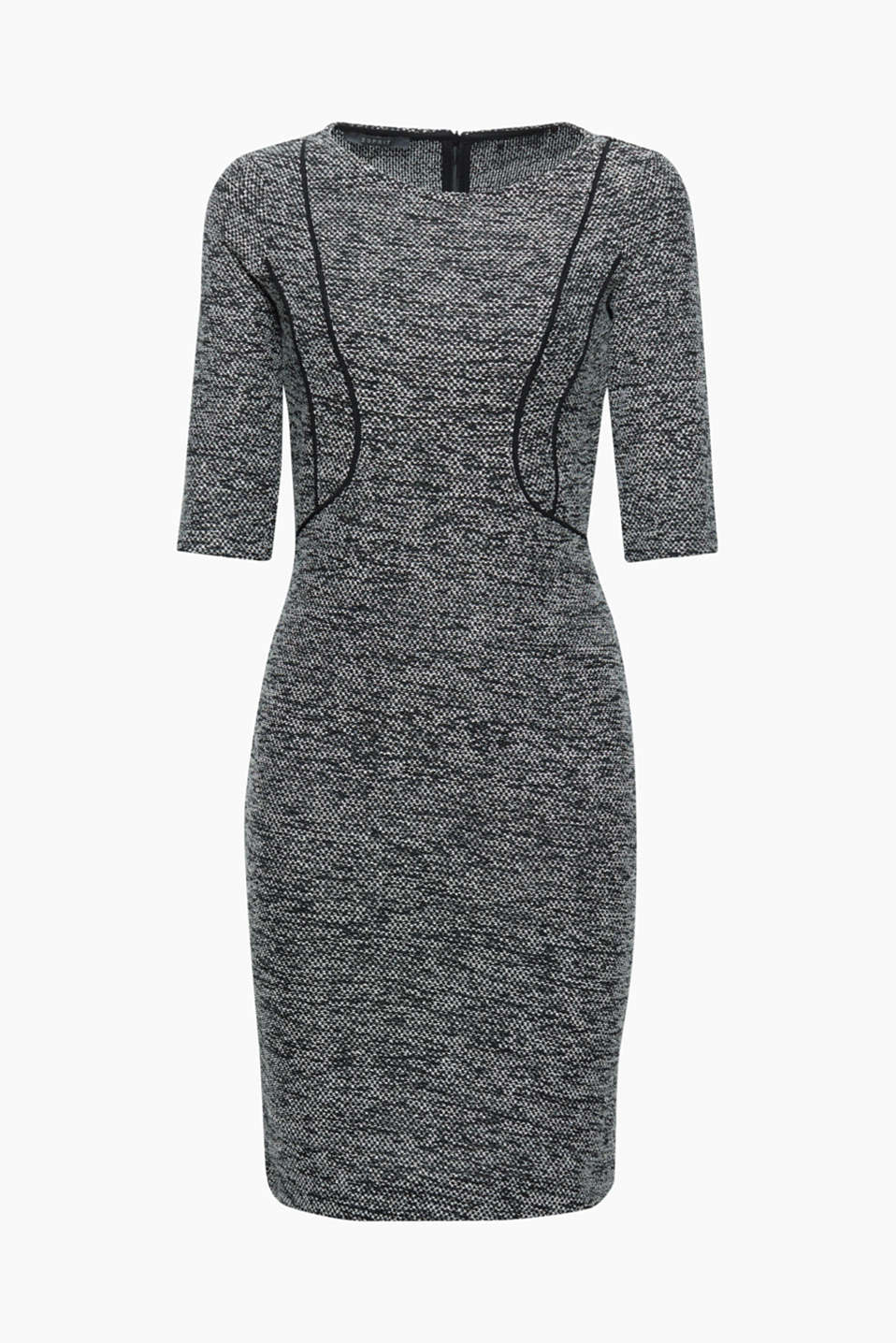 This jersey dress in a textured tweed look with subtle glitter effects is chic and comfortable!