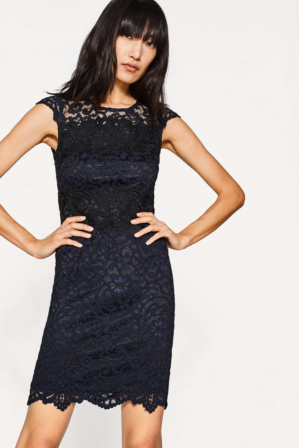 Esprit - Shift dress in two-tone matte-shiny lace