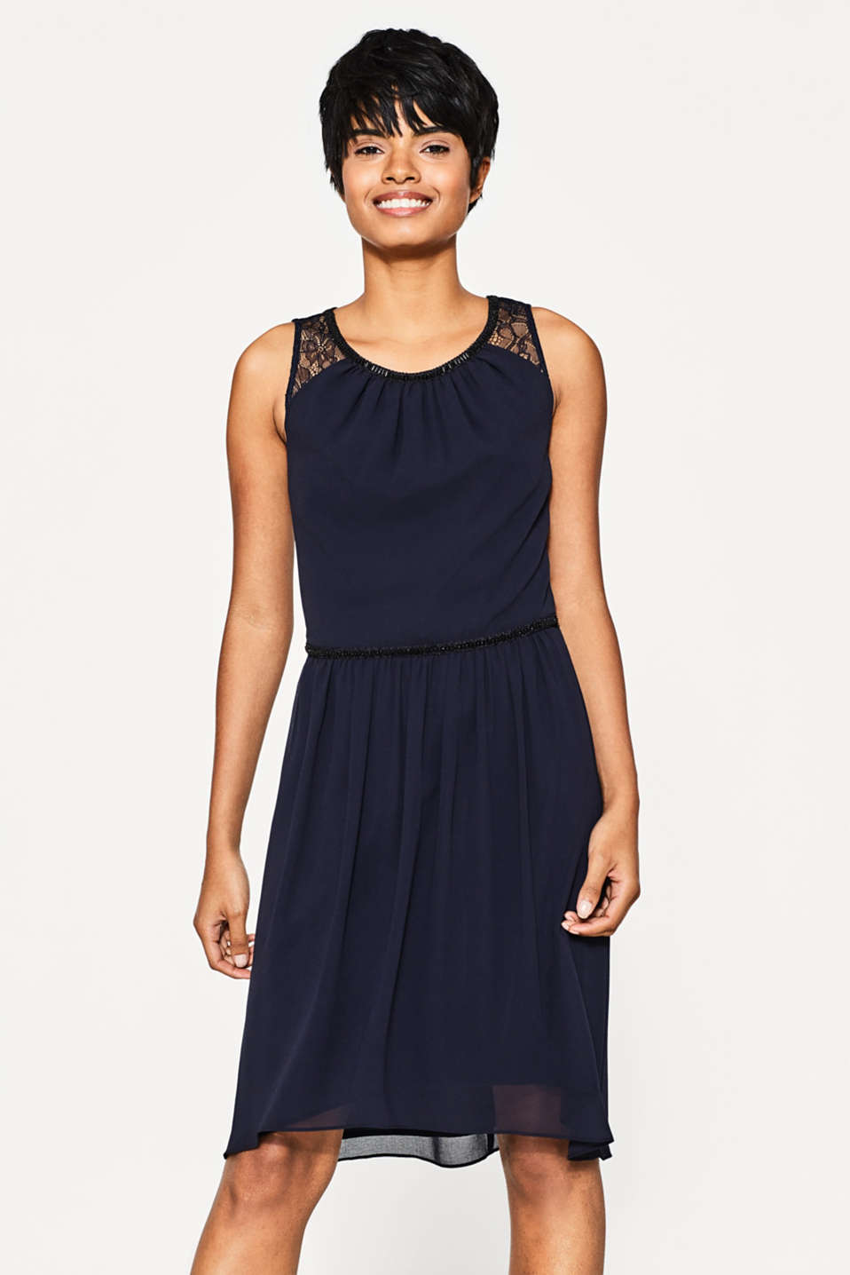 Esprit - Chiffon dress with lace and beads