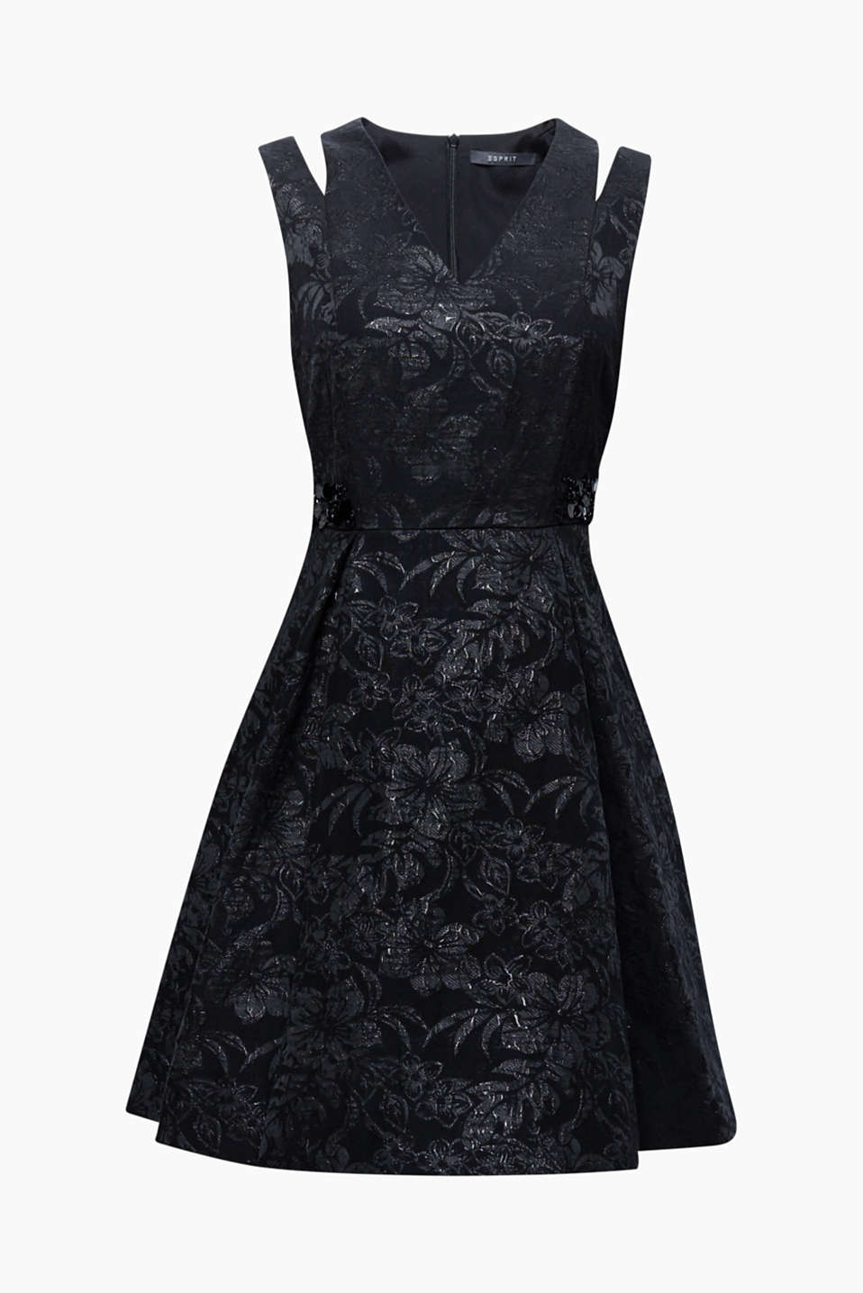This exciting dress features a floral jacquard pattern, cut-outs on the shoulders and an embellished waistline!
