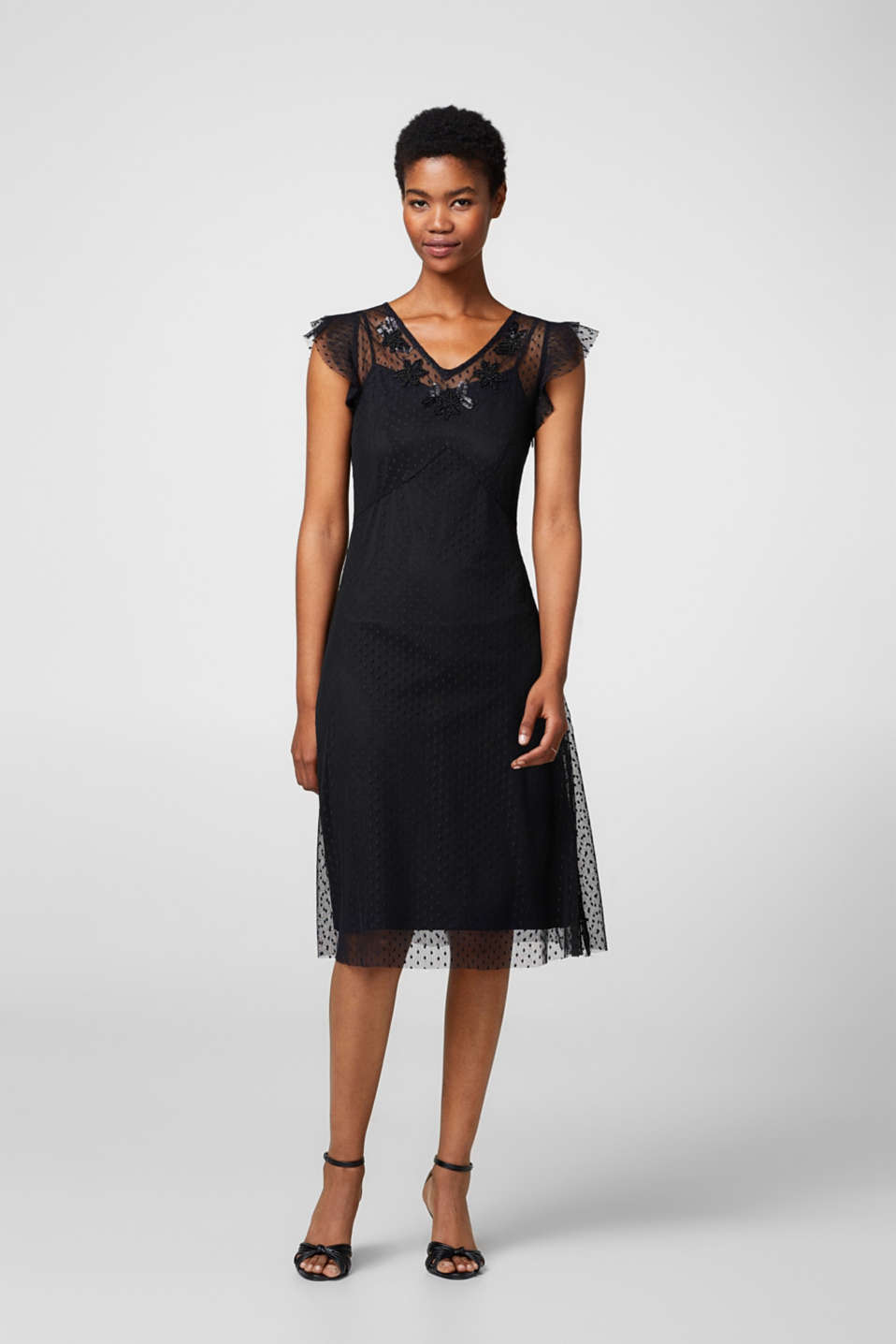 Esprit - Delicate mesh dress, polka dots + beads