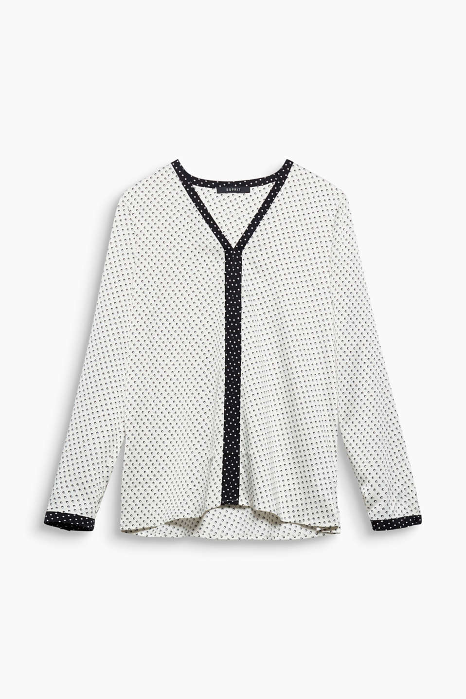 Details in a contrasting colour make this charming polka dot satin blouse in an elegant tunic style a highlight piece.