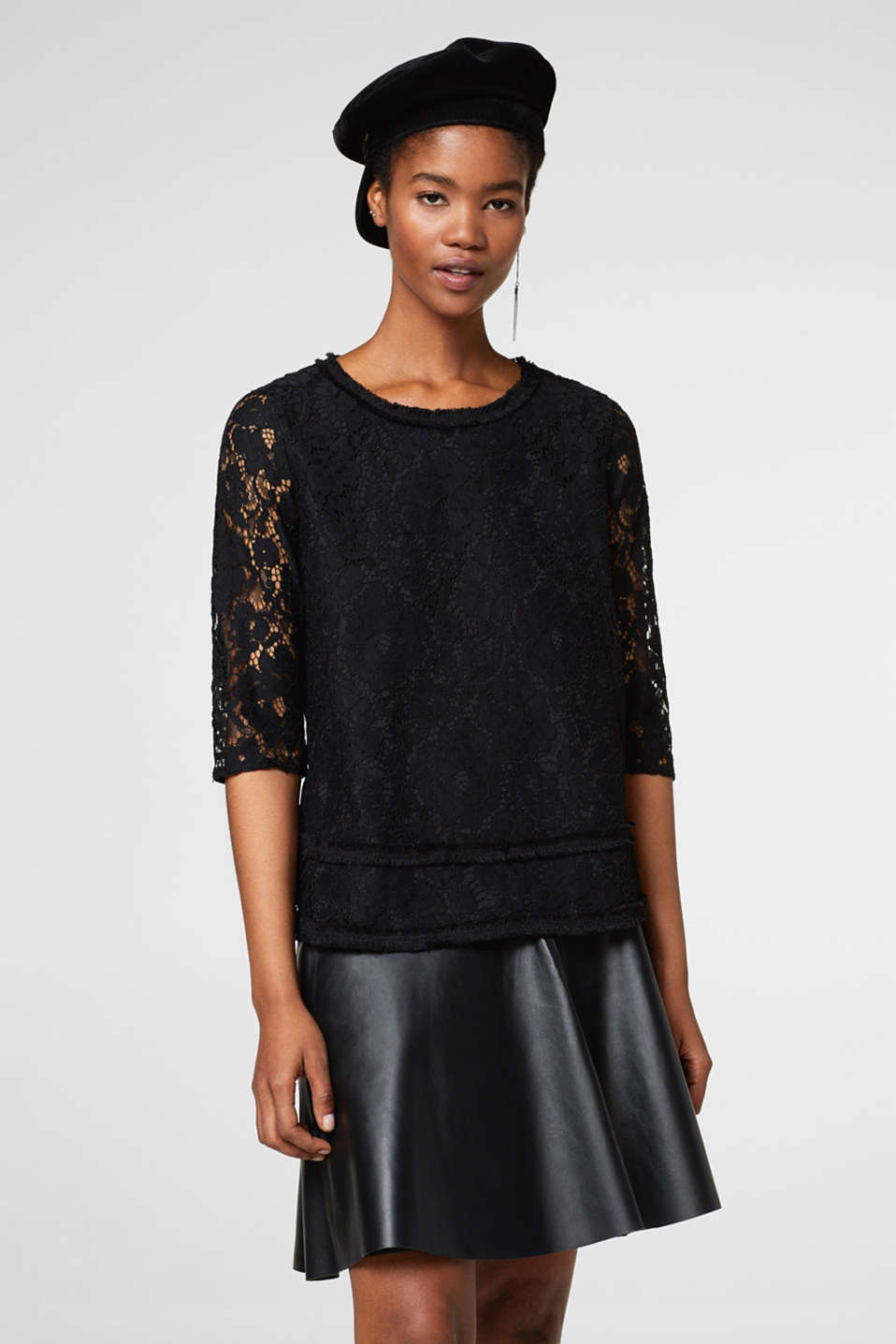 Esprit - Lace blouse with frayed borders