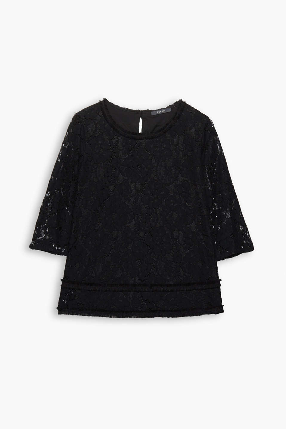 Feminine for festivities: frayed borders add eye-catching style to this lace blouse with three-quarter length sleeves!