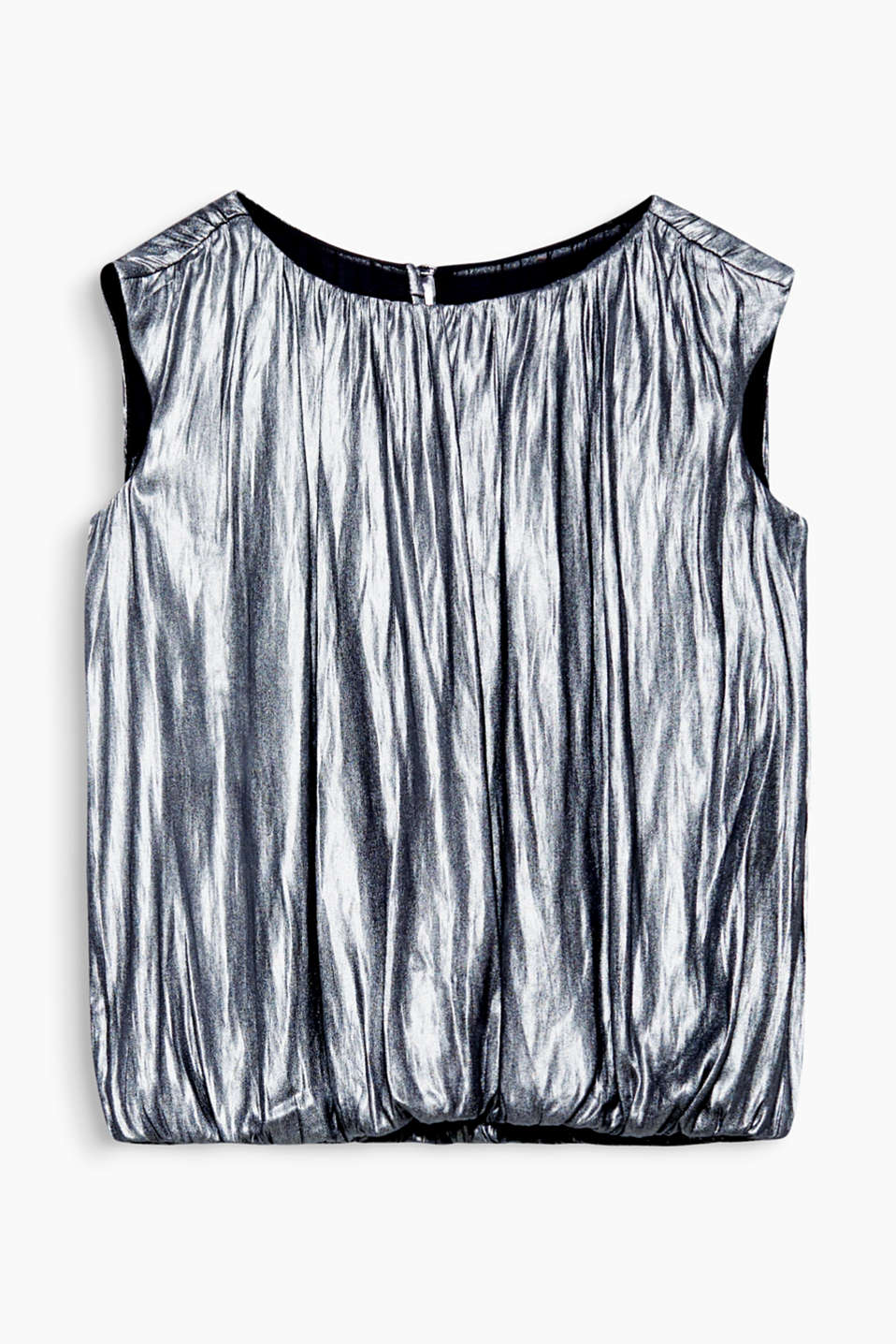 This blouse top has an elegant shiny finish, casual pleats and loose cut, making it a glamour piece for your wardrobe!