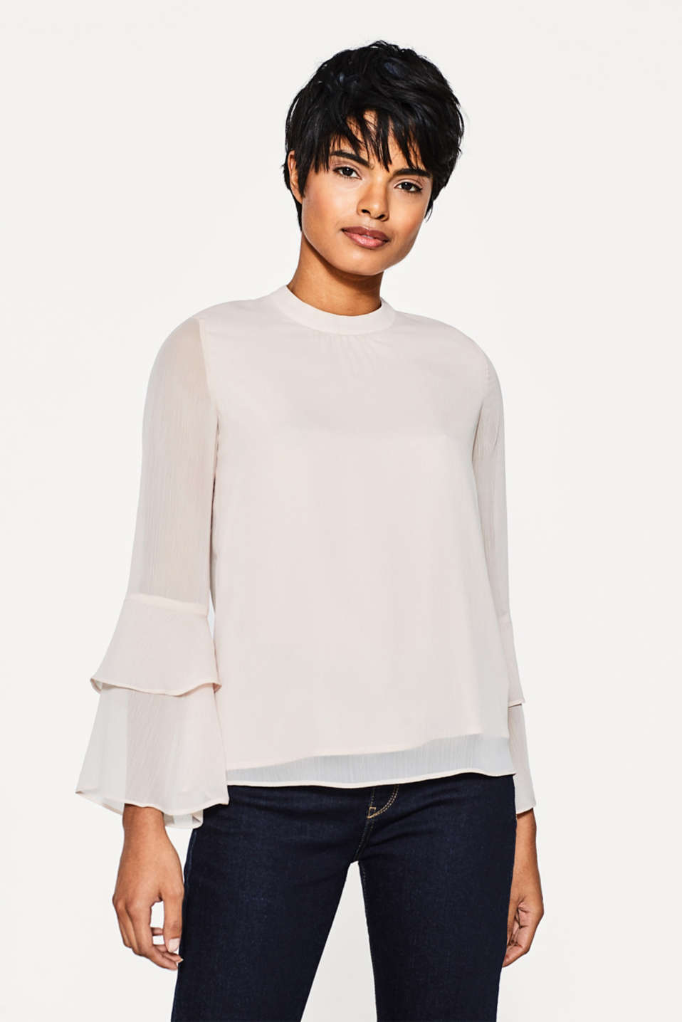 Esprit - Delicate chiffon blouse with flounce sleeves