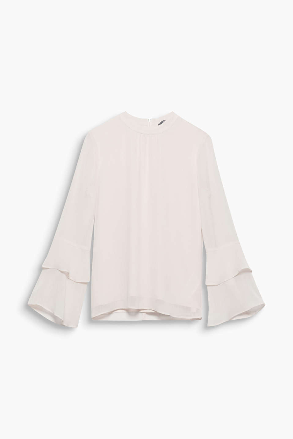 This blouse has everything your heart desires with delicate crinkle chiffon, a lovely colour and pretty flounce sleeves!