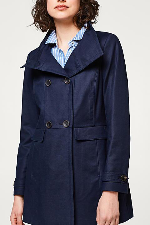 Baumwoll-Stretch-Mantel mit Stehbund