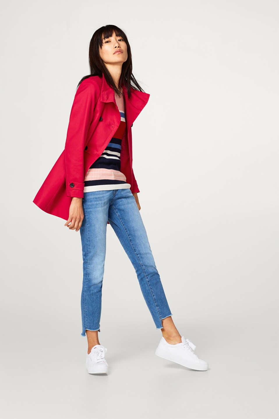 Stretchy cotton coat with a stand-up collar