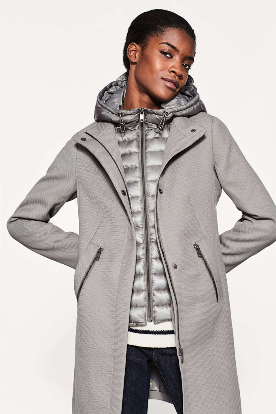 Esprit - Textured coat with quilted inlay and hood
