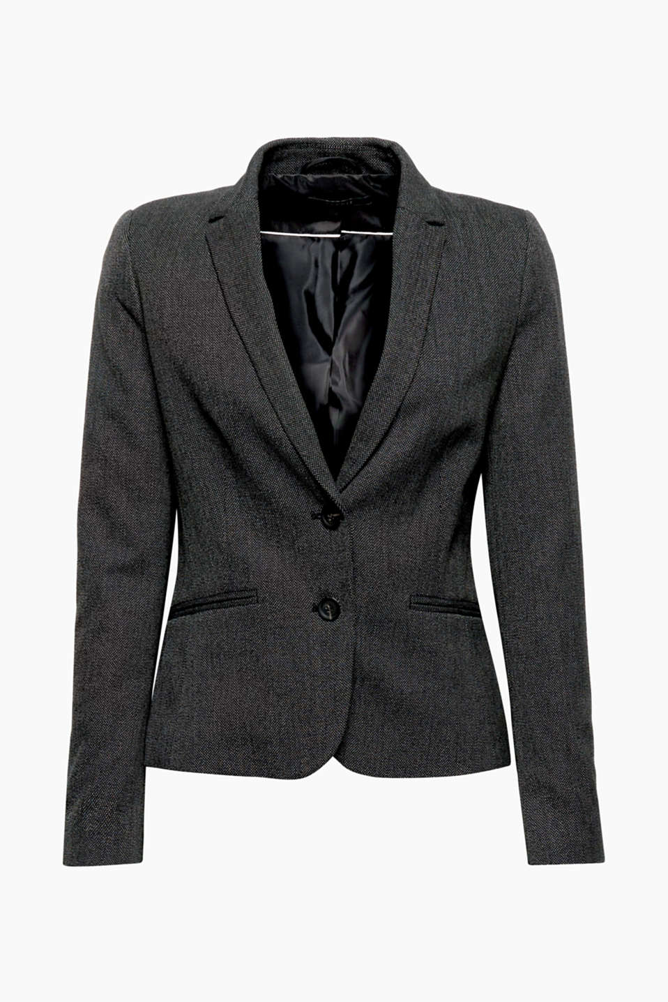 The fine texture in a two-tone look makes this fitted stretch blazer the perfect business partner!