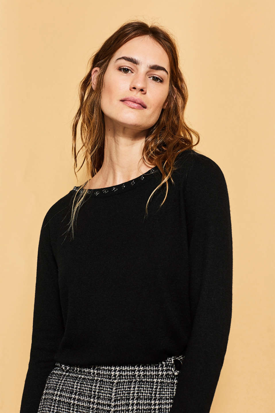 Esprit - Jumper with cashmere and rhinestones
