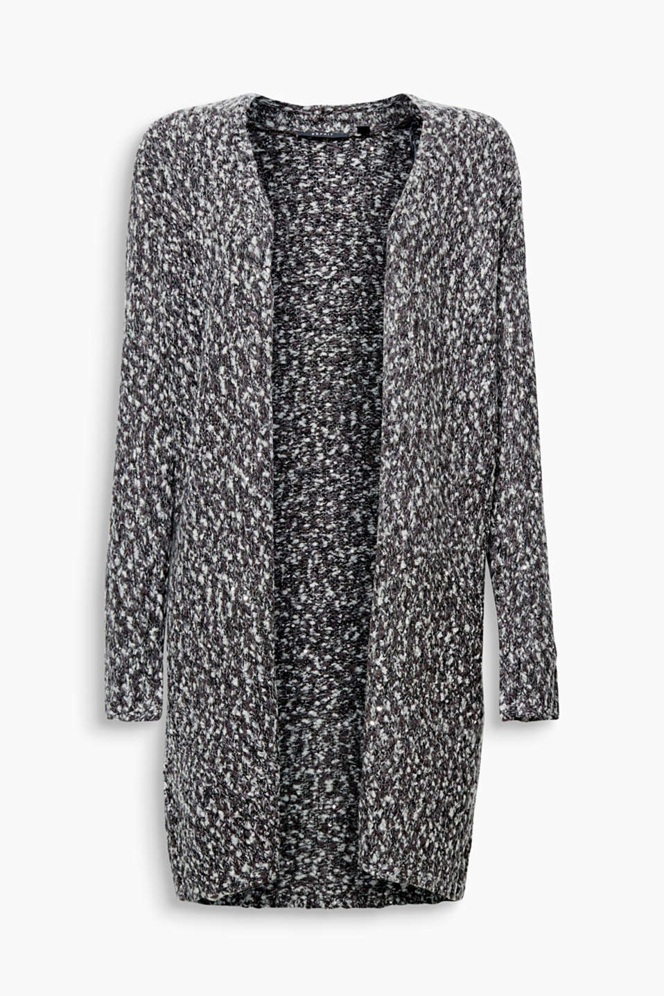 This long cardigan in melange bouclé with shimmering sequins works from daytime to evening!