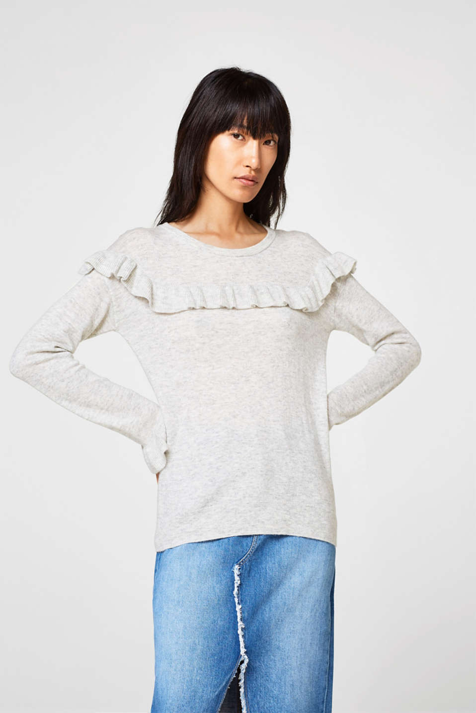 Esprit - Soft jumper with frills