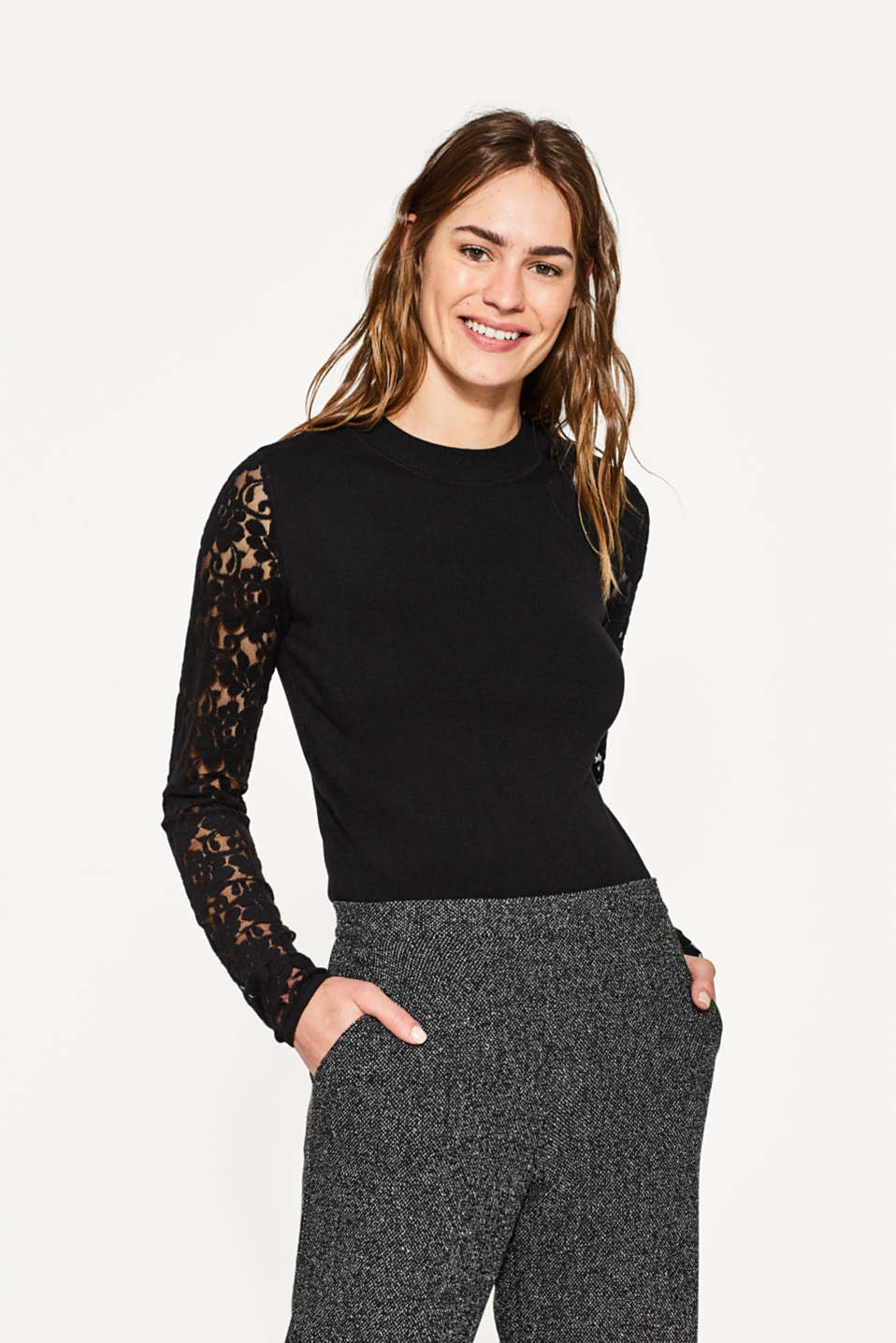 Esprit - Soft stand-up jumper with lace sleeves
