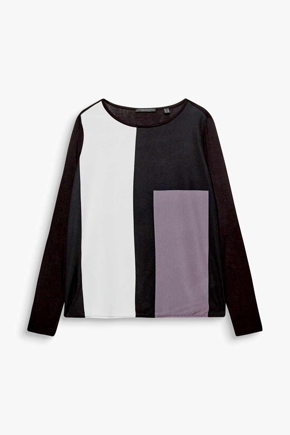 Modern style: This long sleeve top in a material mix catches the eye thanks to the graphic colour blocking on the front!