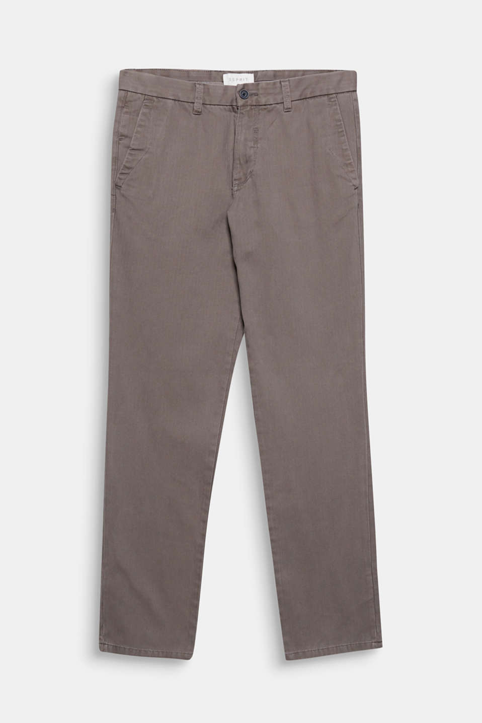 For business or everyday wear: These cotton trousers feature a fine herringbone pattern and a soft texture.