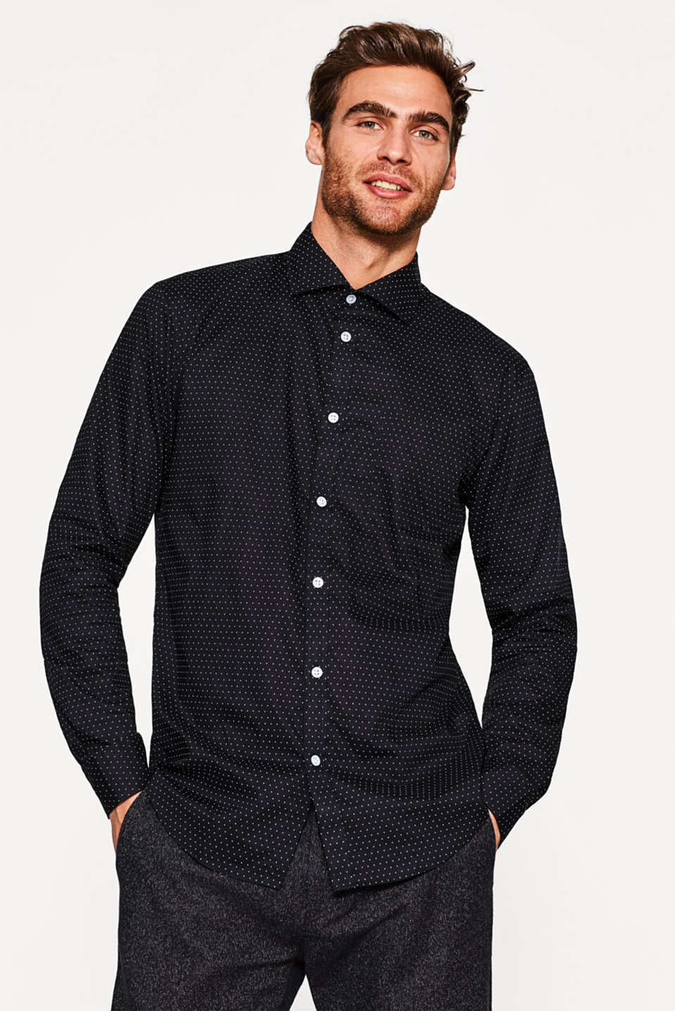 Esprit - Polka dot print shirt, 100% cotton