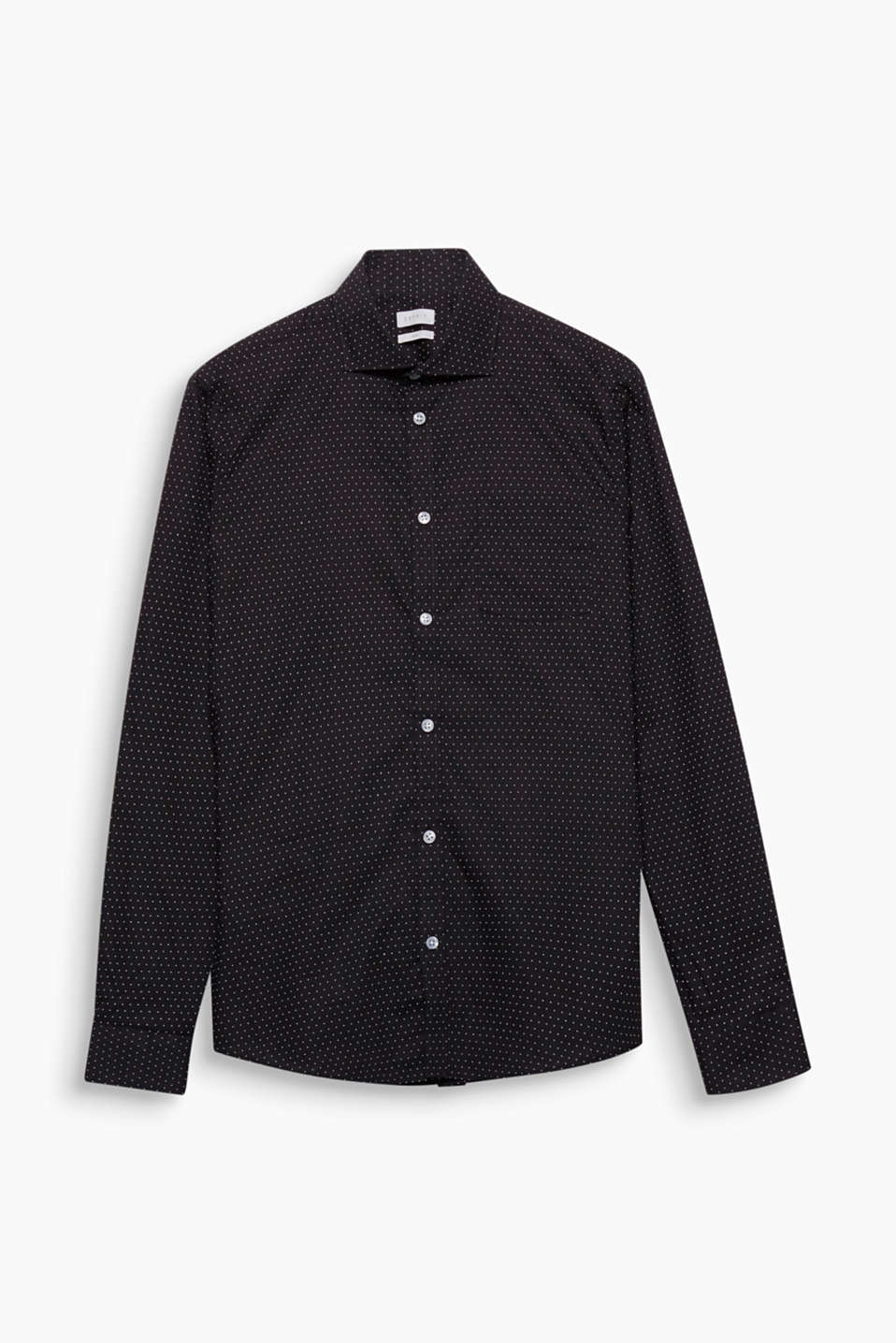 The fine polka dots and striking shark collar make this shirt a smart/casual fave.