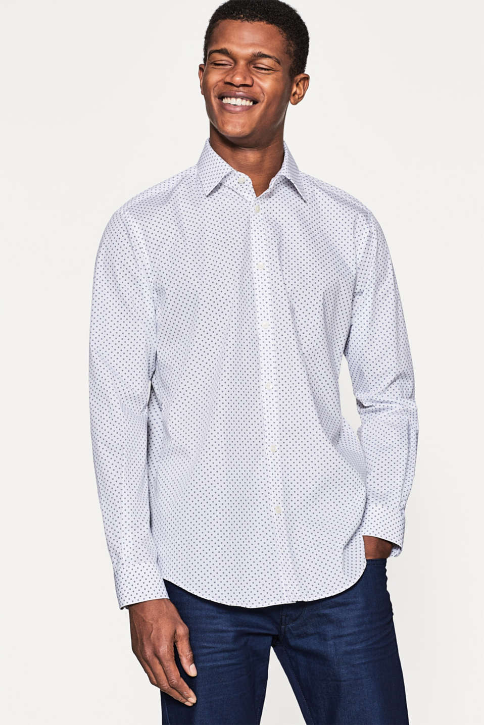Esprit poplin shirt with a fine minimalist print at our for What is a poplin shirt