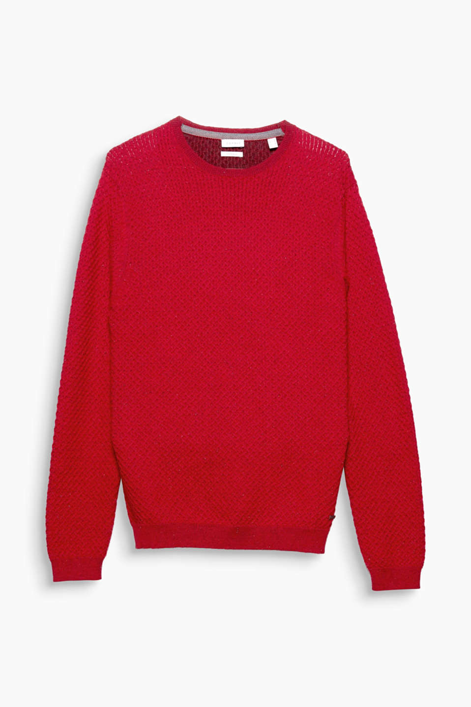 Casual knitwear! The textured yarn and exquisite dimpled finish make this jumper a warm and toasty fave.