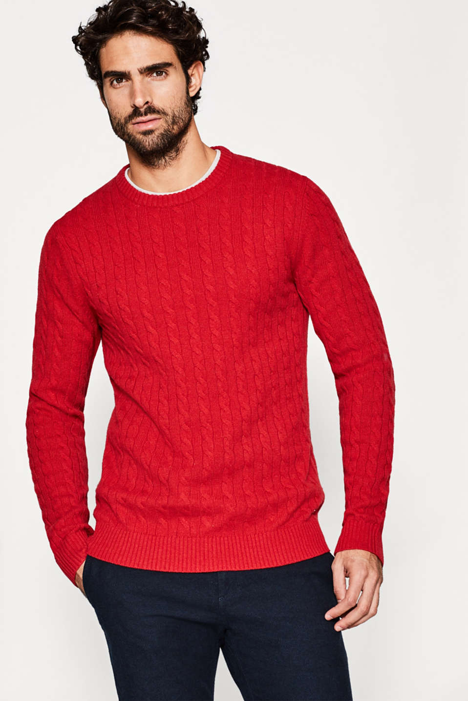 Esprit - Cable knit jumper, in 100% wool