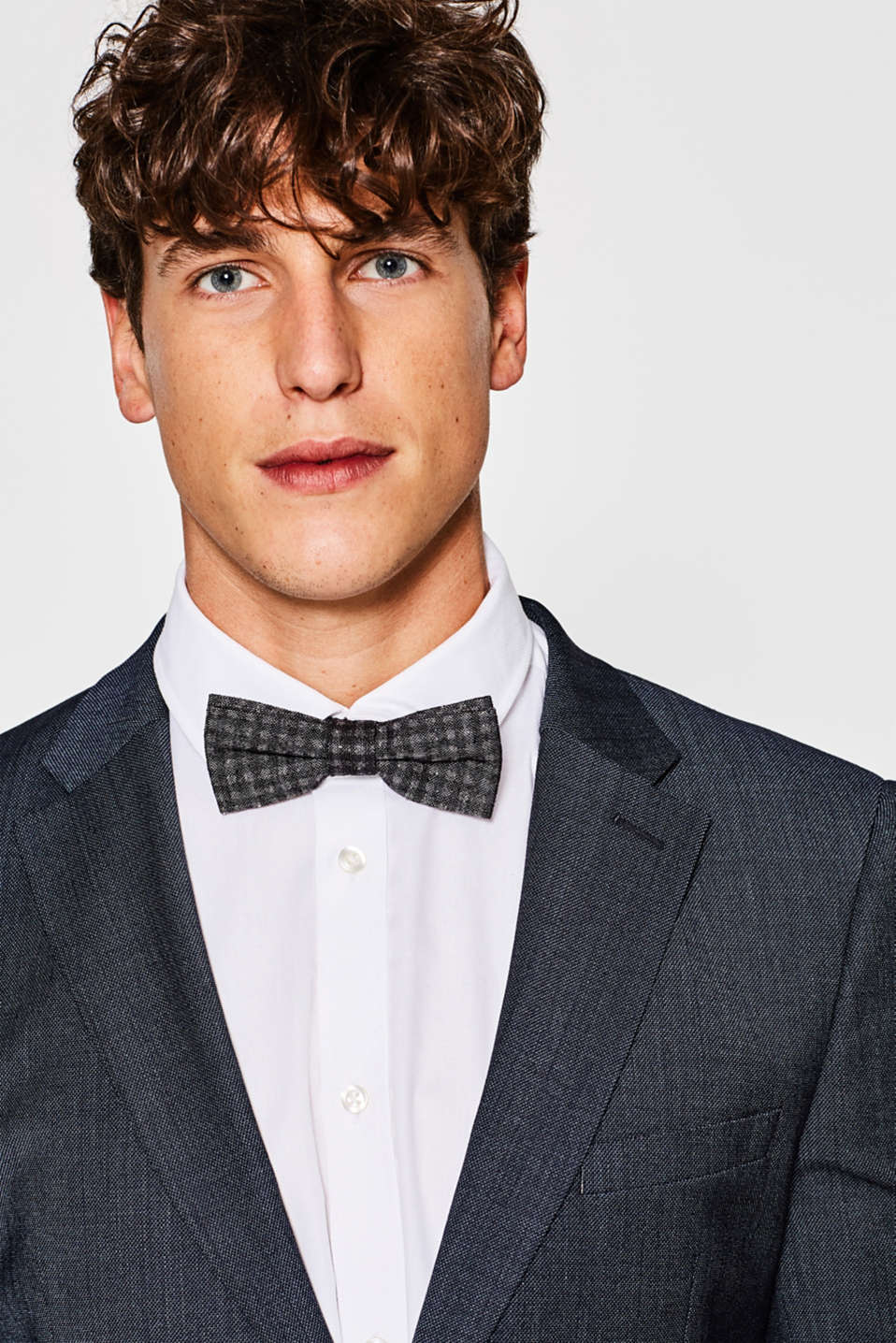 Checked bow tie in blended silk