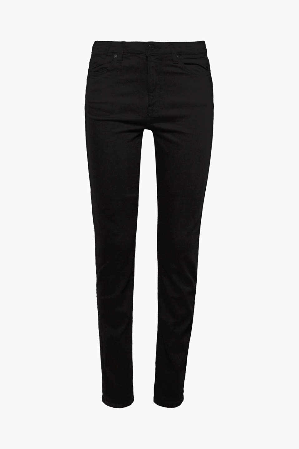 These high-rise jeans made of jet black cotton denim with added stretch for comfort are the perfect essential.