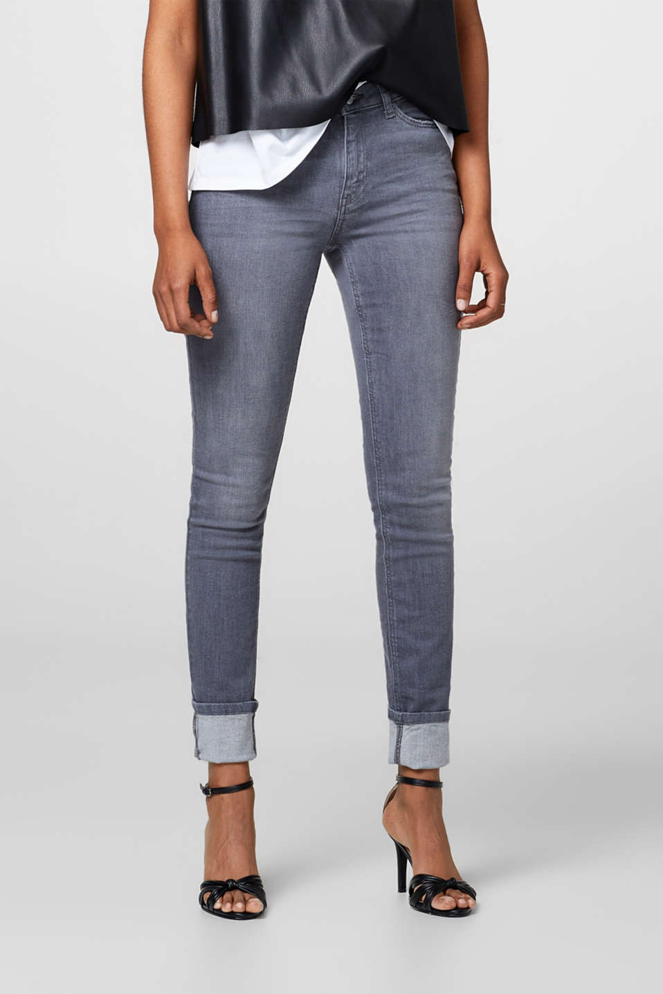 Esprit - Grey stretch jeans with a high waistband