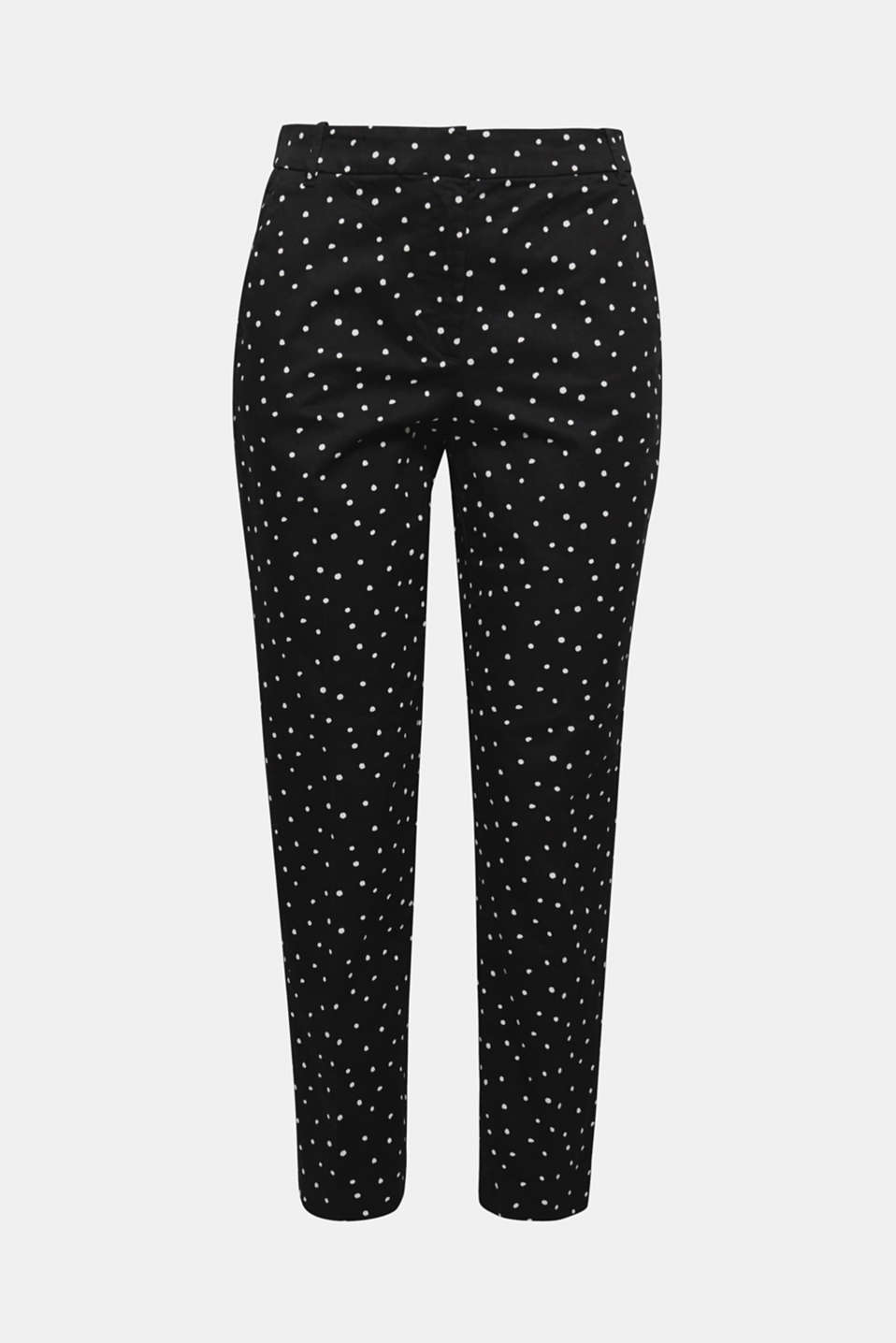 These ankle-length chinos with waist pleats in stretch cotton with an all-over polka dot print exude charm.