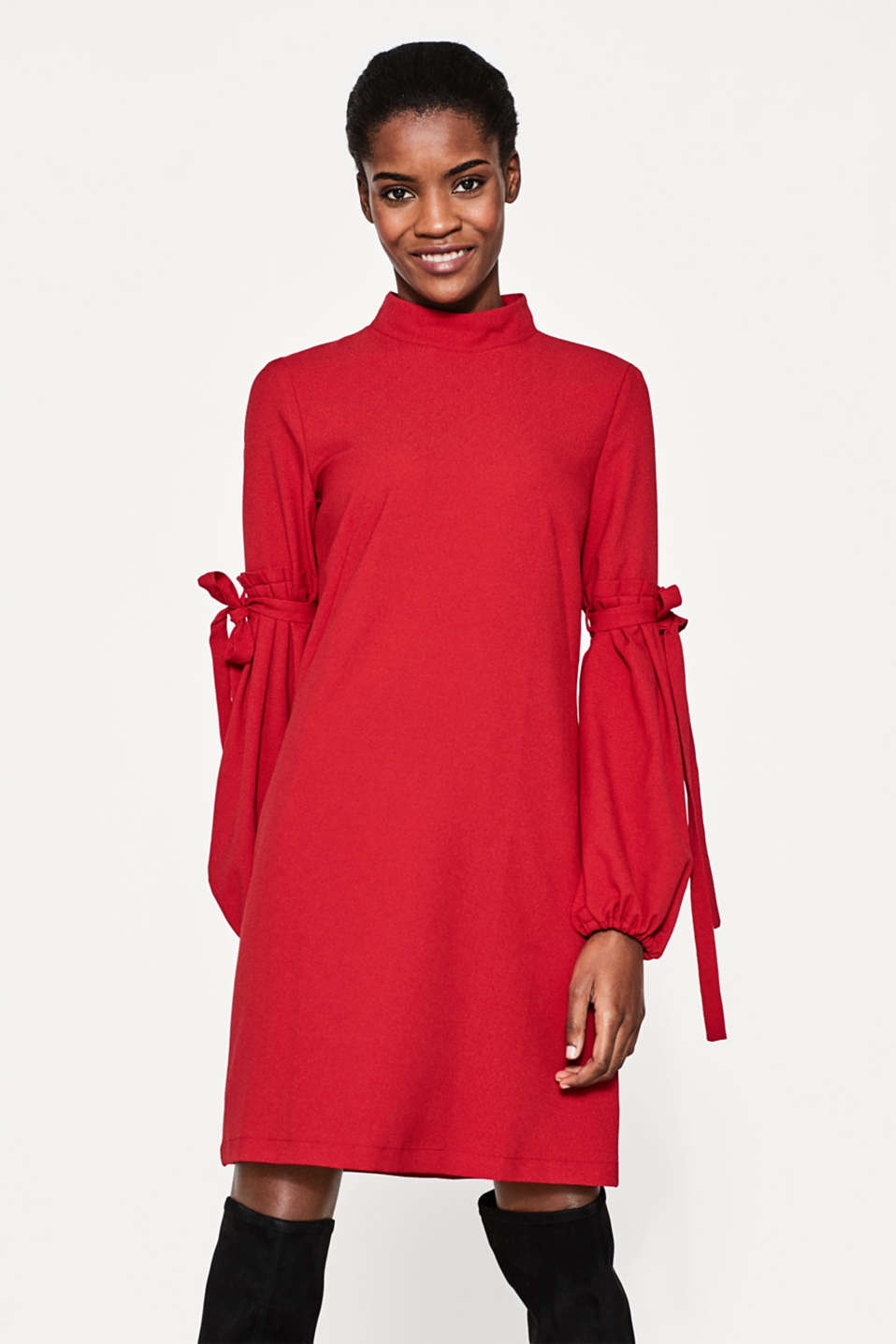 Esprit - Collared dress with voluminous sleeves
