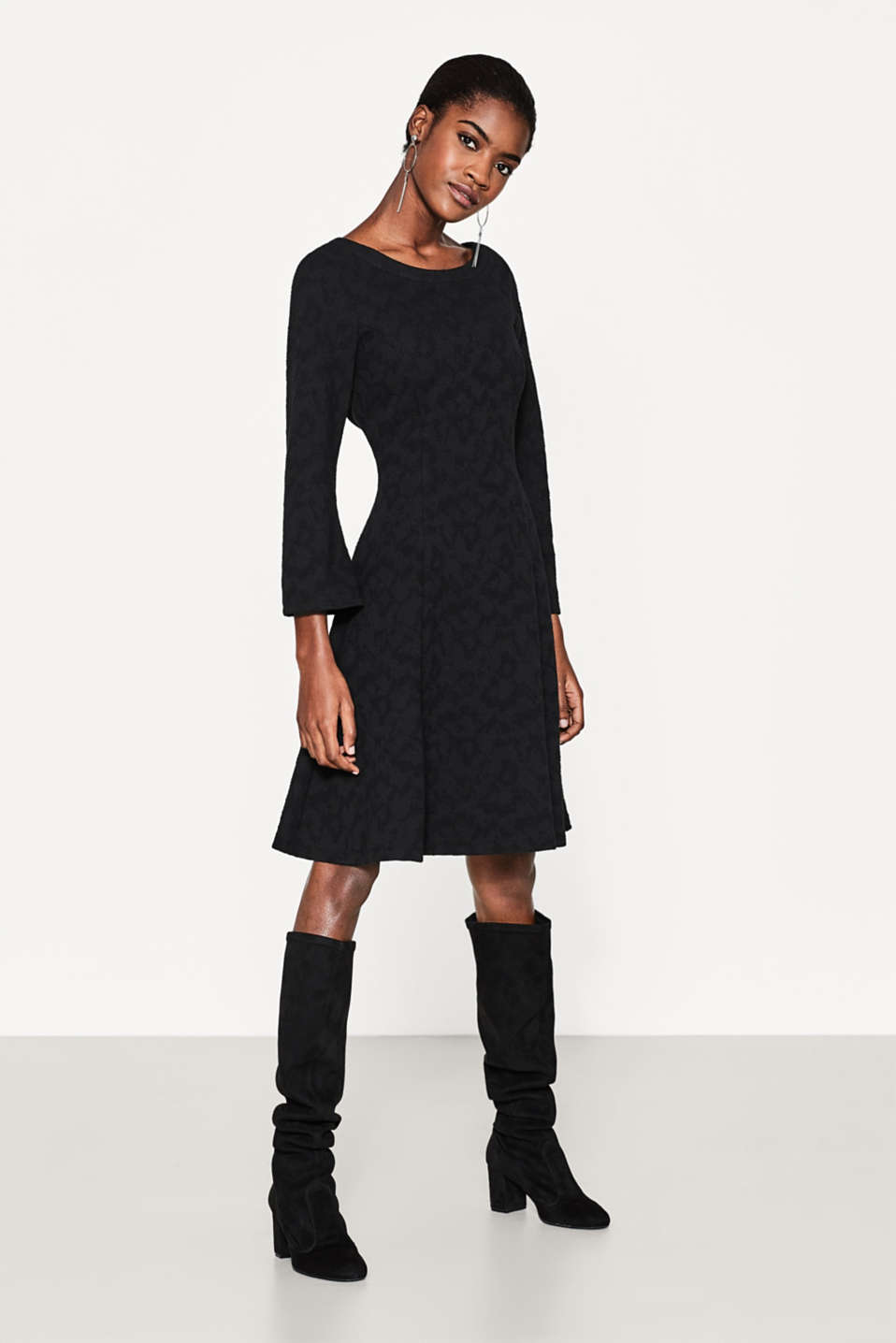 Esprit - Textured, flared sweatshirt dress