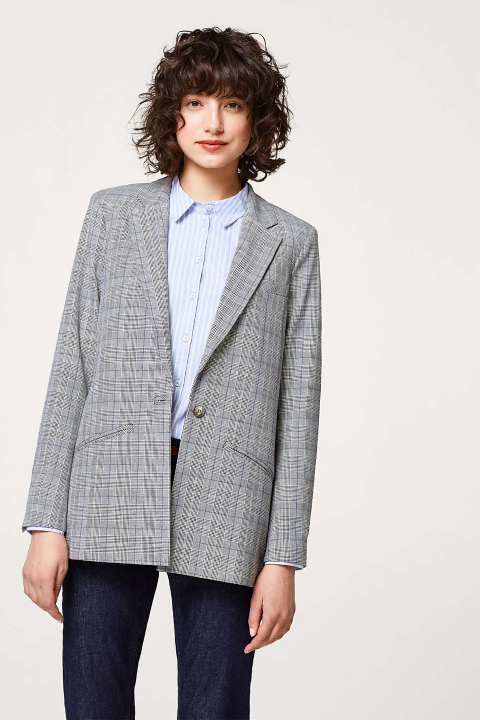 Esprit - Stretch blazer with Prince of Wales checks