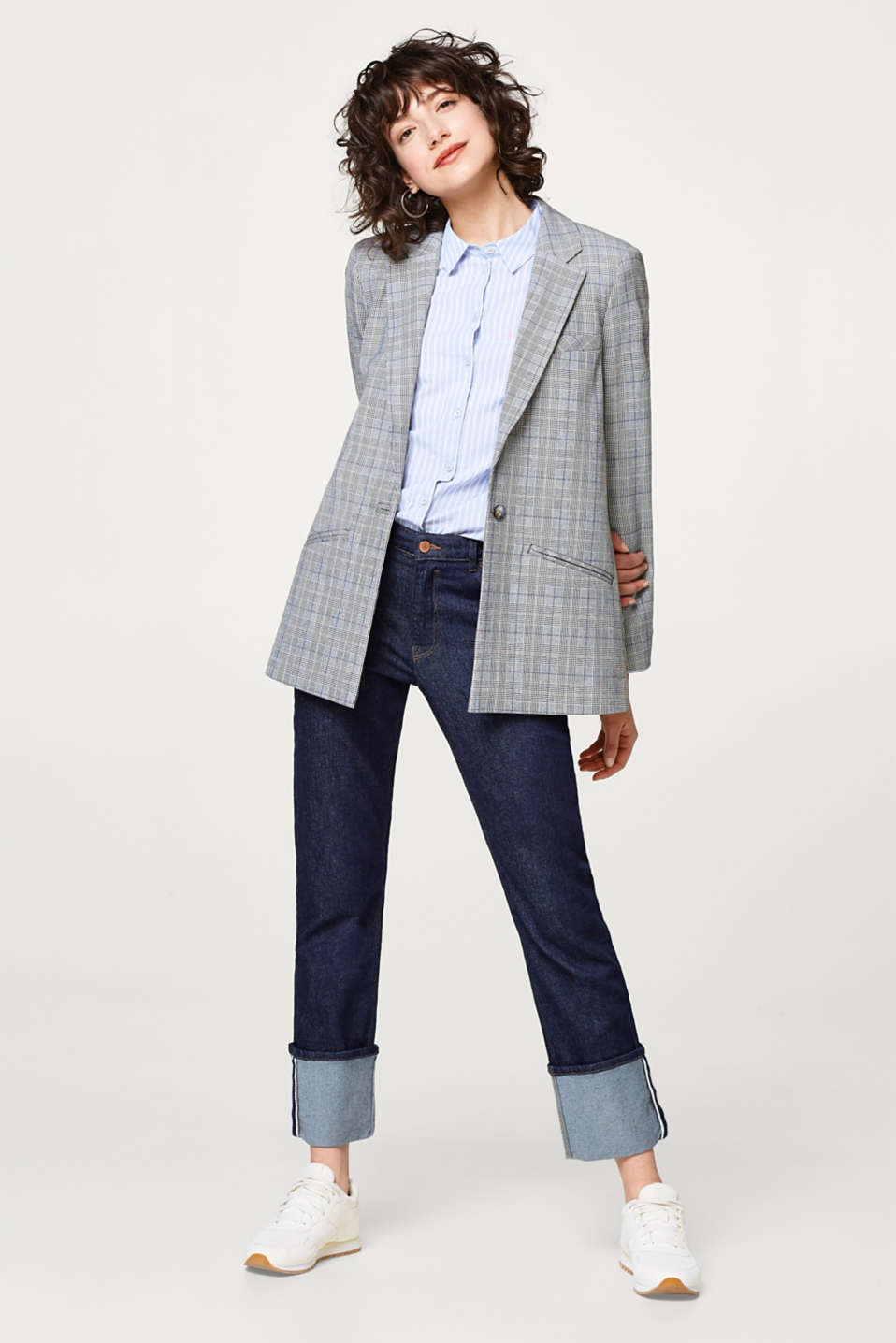 Stretch blazer with Prince of Wales checks